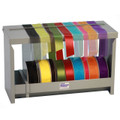 Ribbon storage box dispenser holds up to 18″ (45cm) of ribbon bolts