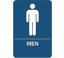 "9"" x 6"" ""Men Restroom"" Universal ADA Compliant Signage and Graphics"
