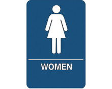 "9"" x 6"" ""Women Restroom"" Universal ADA Compliant Signage and Graphics"