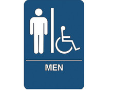 "9"" x 6"" ""Men/Accessible"" Universal ADA Compliant Signage and Graphics"