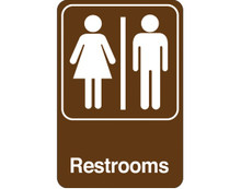"""9"""" x 6"""" """"Men/Women Restrooms"""" Universal Instructional Facility Sign and Graphics"""