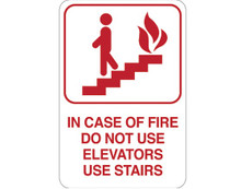 "9"" x 6"" ""IN CASE OF FIRE…"" Universal Instructional Facility Sign and Graphics"