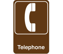 "9"" x 6"" ""Telephone"" Universal Instructional Facility Sign and Graphics"