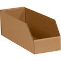 "4"" x 24"" x 4 1/2"" Kraft  Open Top Bin Boxes - Fits 24"" Shelf"