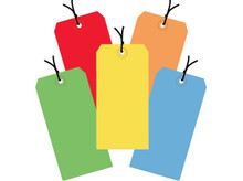 """6 1/4"""" x 3 1/8"""" General Purpose Assorted Colored Pre-Strung Tags 13 Point Card Stock"""