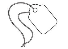 """1 3/32"""" x 1 3/4"""" White Pre-Strung Merchandise Pricing Tags with White String."""