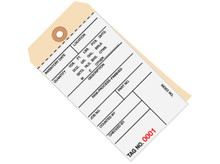 """6 1/4"""" x 3 1/8"""" 2 Part Carbonless Inventory Tags (6000-6499), Perforated Paper, 10 Point Manila Card Stock"""