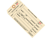 """6 1/4"""" x 3 1/8"""" 1 Part Stub Style Inventory Tags (2000-2999), 10 Point Manila Card Stock"""