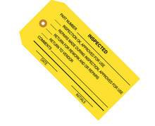 """4 3/4"""" x 2 3/8"""" """"Inspected (Yellow)"""" Inspection Tags 13 Point Construction"""