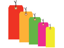 """3 3/4"""" x 1 7/8"""" Pre-Strung General Purpose Fluorescent Colored Tags 13 Point Card Stock"""