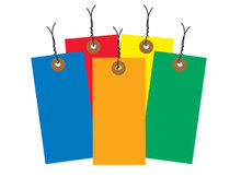 """4 1/4"""" x 2 1/8"""" Pre-Wired Colored Tyvek® Shipping Inventory Tags are Tough Durable / Tear, Chemical, Moisture and Mildew Resistant."""