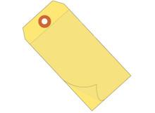 "6 1/4"" x 3 1/8"" Blank Yellow Self-Laminating Vinyl Safety Tags"