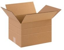 "15"" x 12"" x 10"" (200#/ECT-32) Multi-Depth Kraft Corrugated Cardboard Shipping Boxes"