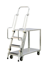 Step Ladder Stocking & Picking Cart for Warehouse, Fulfillment - 2 Flat Top Shelves