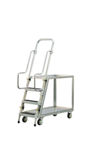 Step Ladder Stocking & Picking Cart for Warehouse, Fulfillment - 2 Lip Up Shelves