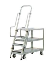 Step Ladder Stocking & Picking Cart for Warehouse, Fulfillment - 3 Lip Up Shelves