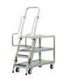 Step Ladder Stocking & Picking Cart for Warehouse, Fulfillment - 3 Lip Up Shelves