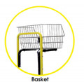 Convenient basket allows workers to carry and store items that are needed in the warehouse.