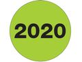 "3"" Circle - ""2020"" (Fluorescent Green) Year Labels 500 / Roll"