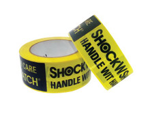 ShockWatch® PVC tape with rubber adhesive.