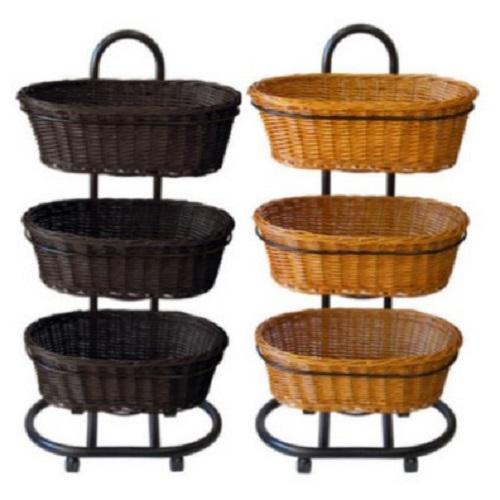 Polywicker Oval Baskets Triple Stand