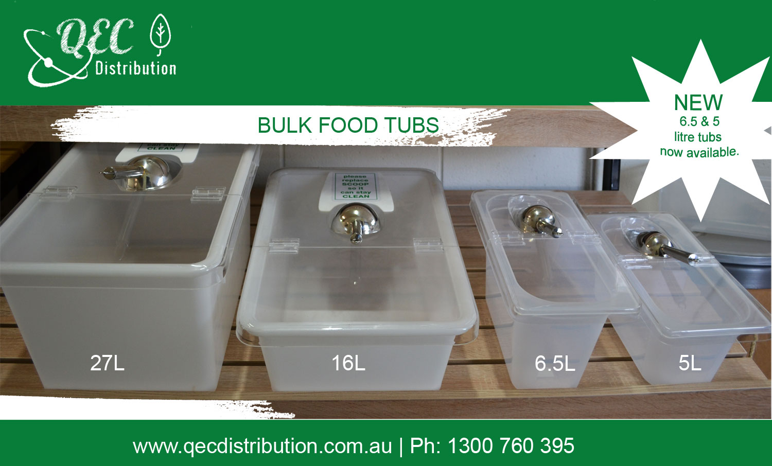 QEC Bulk Dry food Storage Tubs Solution 27Lt, 16Lt, 6.5Lt & 5Lt