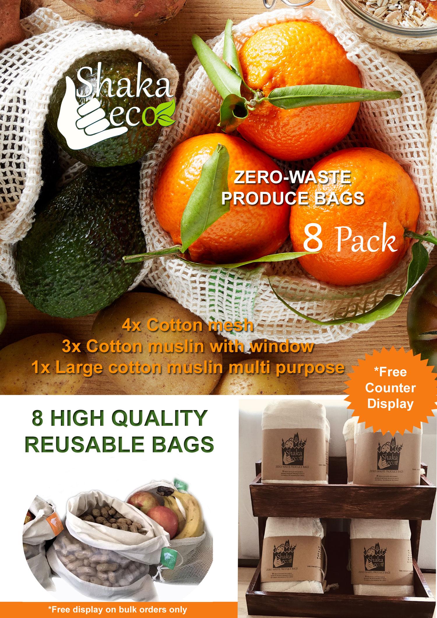 Shaka Eco Produce Bag 8Pk