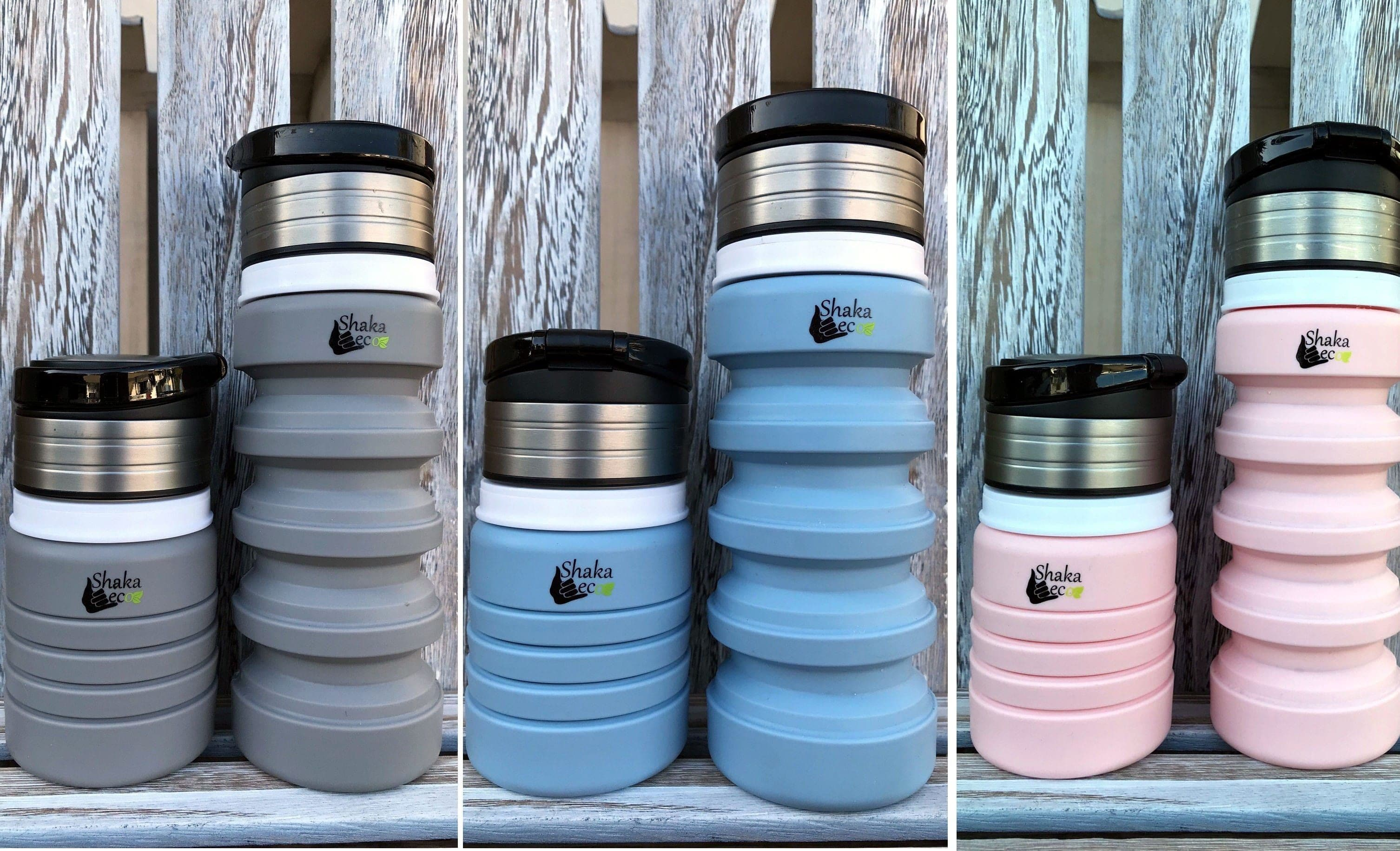 Shaka Eco Drink Bottle 3 Colours Grey, Blue & Pink