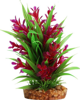 Aqua One Plastic Plant Red Ludwigia/Green Sword W/Gravel Base - Med (28189)