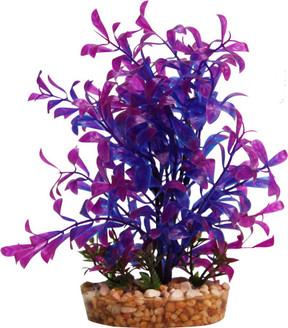 Aqua One Plastic Plant Blue Hygrophila W/Gravel Base - Med (28191)