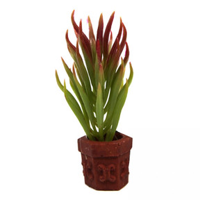 Aqua One Betta Green/Red Plant On Pot Ornament 10cm (24334)