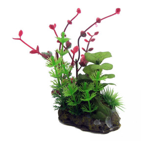 Aqua One Betta Green/Red Plant On Rock Ornament 15cm (24335)
