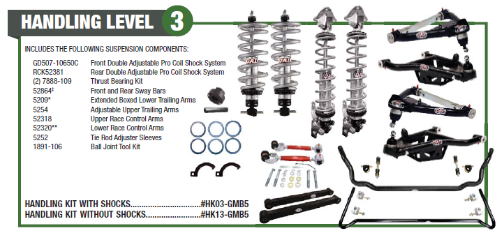 1994-1996 GM B-Body Level 3 Handling Suspension Kits, QA1