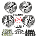 88-90 Camaro 17 x 9 IROC-Z  Wheel Kit - FREE SHIPPING