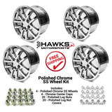 93-2002 10 Spoke (01-02 Style) SS Camaro 17 x 9 Wheel Kit, Chrome - FREE SHIPPING