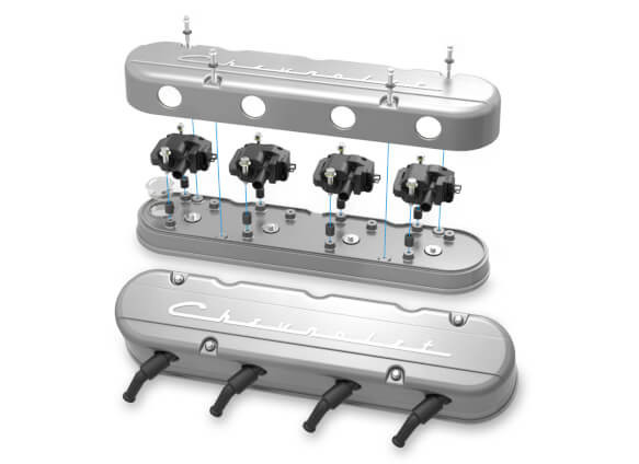 LS 2-Piece Valve Covers with Chevrolet Script LOGO, Holley