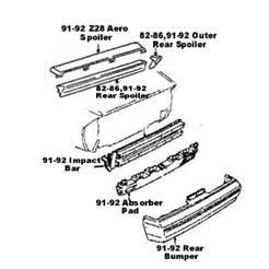 impact bar absorber pad camaro 85 92 iroc z28 rs rear bumper Camaro IROC-Z Concept image 1