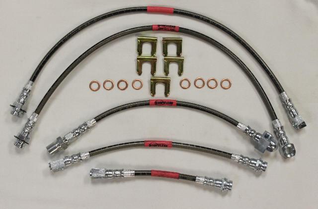 Blue Hose /& Stainless Gold Banjos Pro Braking PBK7268-BLU-GOL Front//Rear Braided Brake Line