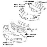 Impact Bar / Absorber Pad, 93-97 Firebird/Formula/Trans Am Front Bumper Impact Bar & Absorber Pad, USED
