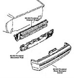 Impact Bar / Absorber Pad, Firebird 85-90 Rear Impact Bar & Absorber Pad,  ALL Firebird Models, Used