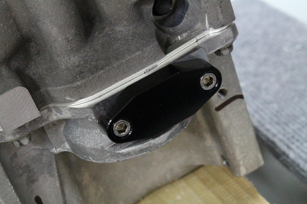 Lsx Oil Pan Billet Black Oil Cooler Block Off Adapter