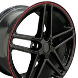 C6 Z06 Corvette Black w/ Red Lip 17x9.5/18x9.5 Wheels, Set of 4
