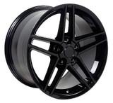 C6 Z06 Black Staggered 17x9.5 / 18x10.5 Wheels, Set of 4, Replica
