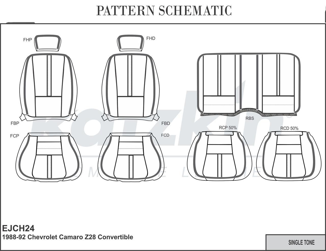 88-92 Camaro IROC Z28 RS Seat Upholstery Kit Katzkin Leather, Style on
