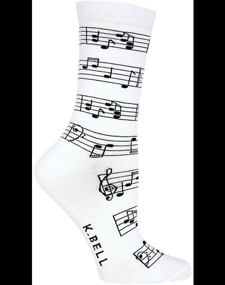 making music womens crew socks  - white