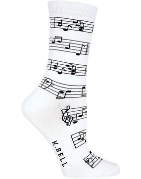 making music womens crew socks  - white