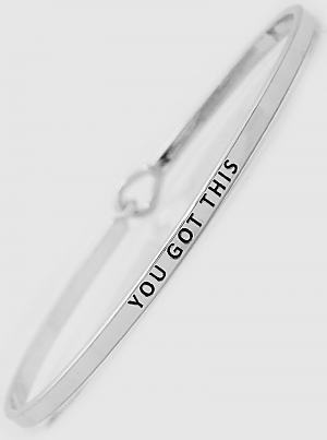 you got this thin bangle, silvertone plated brass bracelet features a hook release for easy on/off