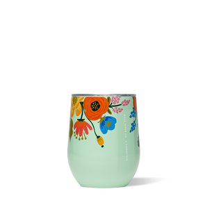 rifle lively floral mint stemless wine glass