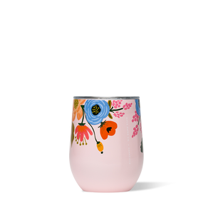rifle lively floral blush stemless wine glass,  triple insulated, BPA free