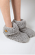 indoor slippers with wooden horn button, grey